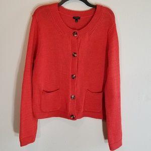 Talbots Size XL Sweater Orange Mercerized Cotton